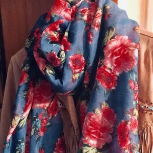 """Charlotte Russe Floral Blue Scarf. New. 72"""" long."""
